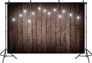 Sensfun Brown Wood Backdrops with Lights Shabby Chic Wooden Photography Background Newborns Portraits Photo Booth Backdrop 7x5ft