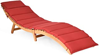Tangkula Folding Patio Lounge Chair, Solid Eucalyptus Wood Sun Lounger Chair, with Double-Sided Cushioned Seat for Garden ...