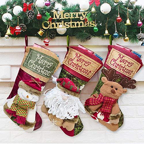 MMTX 3 Pcs Bolsa Regalo Navidad Medias Navidad, Santa