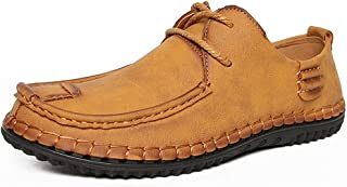 Awanxy Men's Penny Loafers Slip on Summer Flats Boat Shoes Casual Leather Fashion Adjustable Moccasin Comfortable Driving ...
