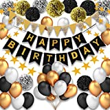 Pushingbest Decoraciones Cumpleaños, Feliz cumpleaños Decoracion Globos Garland Banderas Conjunto 42 Piezas Suministros de decoración Material Seguro para niñas, Hombres, Negro, Dorado y Plateado