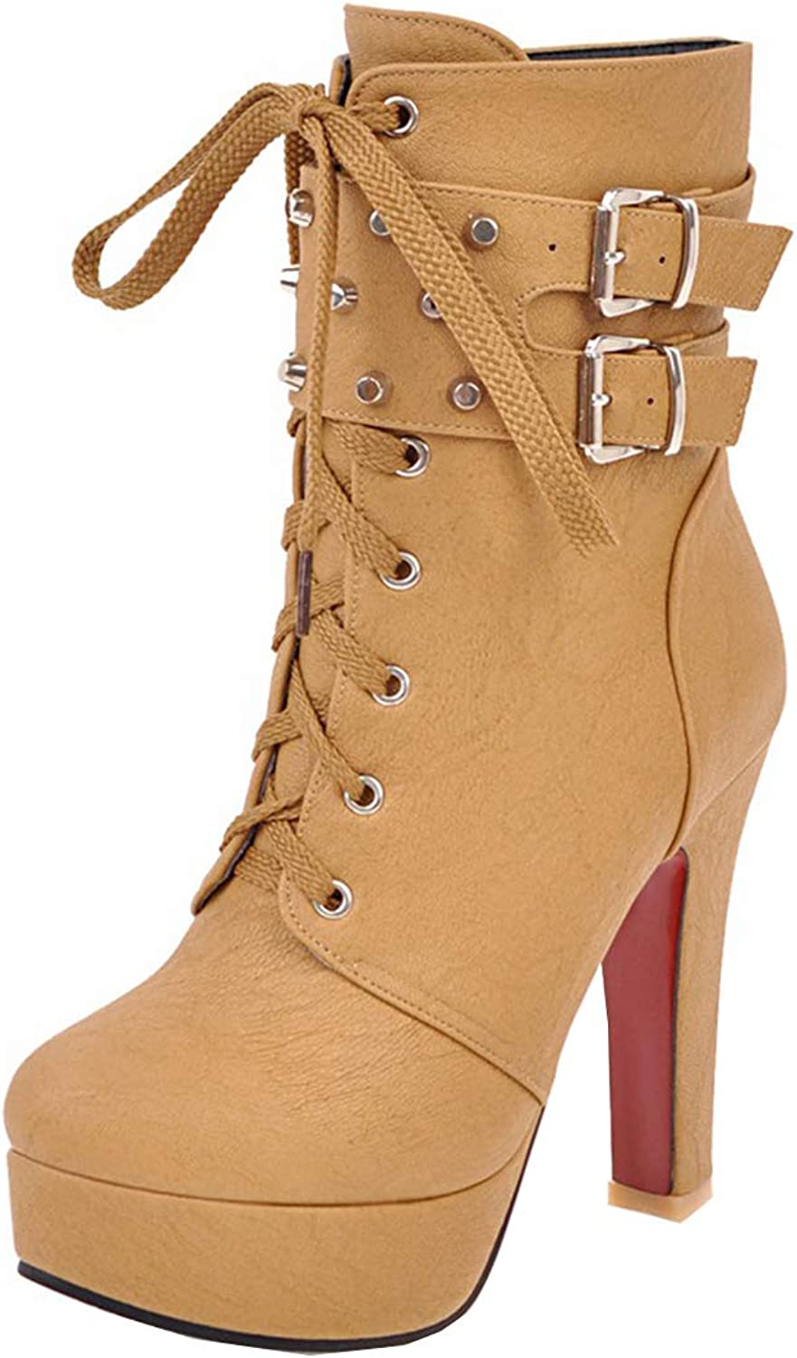 Vitalo Womens Studded High Heel Lace Up Platform Ankle Boots Buckles Autumn Winter shoes