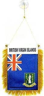 AZ FLAG British Virgin Islands Mini Banner 6'' x 4'' - Virgin Islander Pennant 15 x 10 cm - Mini Banners 4x6 inch Suction Cup Hanger