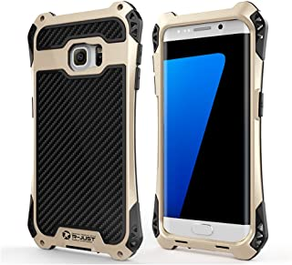 R-JUST Case for Samsung Galaxy S7 Edge Extreme Aluminum Premium Shockproof/Dustproof/Non-slip Cell Phone Casing Cover Protection System with Durable Glass Film (Gold/Black, Galaxy S7 Edge)
