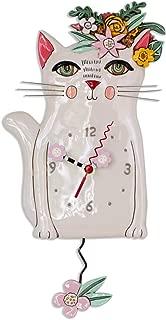 Allen Designs P1993 Swinging Pendulum Clock Pretty Kitty Cat Design 7.25 inches X 14.25 inches