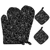 ZhaoLiang 2 Stück Ofenhandschuhe mit 2 Scheiben-Pads Backhandschuhe Universalgröße...