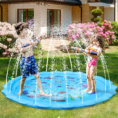 Splash Pad,3-in-1 68in-Diameter Outdoor Sprinkle Wading Pool and Splash Play Mat Perfect Summer Backyard Fun Water Toys for Children Infants Toddlers,Boys, Girls and Kids
