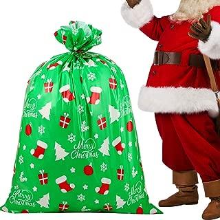 DIYASY Jumbo Christmas Gift Bag,Green Plastic Giant Gift Bagsfor Oversized Gift Wrapping.