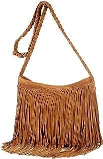 Queena Women Suede Fringe Tassel Shoulder Bag Vintage Hippie Messenger Bag Cross Body Hobo Purse