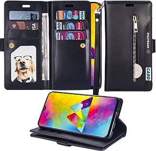 for Samsung Galaxy A20/A30 Zipper Wallet Case Luxury PU Leather Flip Case Dual Folio Card Slot Soft TPU Inner Wrist Strap Magnetic Stand Handbag Case Cover for Samsung Galaxy A20/A30 Black