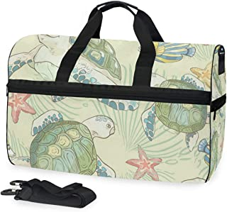Travel Tote Luggage Weekender Duffle Bag, Hand Drawn Turtle Large Canvas shoulder bag with Shoe Compartment