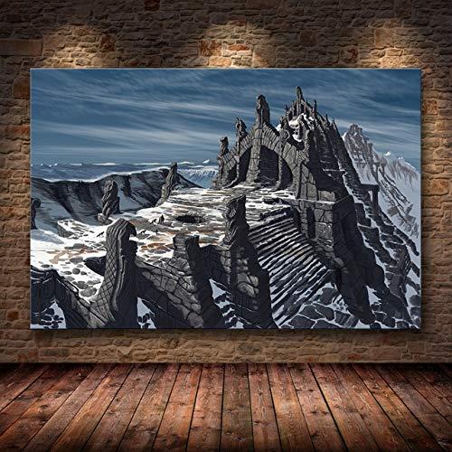 JMHomeDecor Skyrim The Elder Scrolls Spiel Poster Und Drucke Wandbilder Wohnzimmer Dekoration Malerei Leinwand Dekoration Malerei 40X50Cm -Sn645
