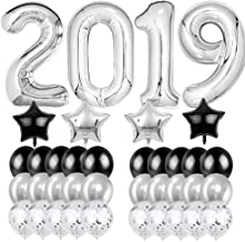 40inch Silver Color 2019 Balloons Graduation Supplies ,Large 38Pcs Foil Confetti Balloons,Great for Birthday New Year Holiday Graduation Anniversary Party Celebration Decorationst