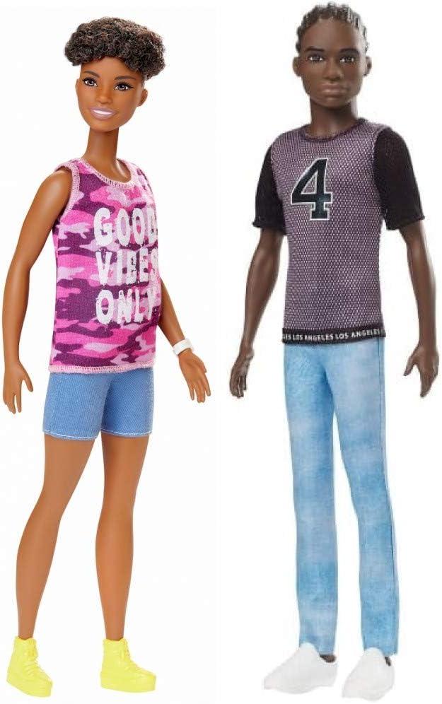 service Barbie Fashionista Doll Bundle National uniform free shipping - Dark one Hair Includes Skin