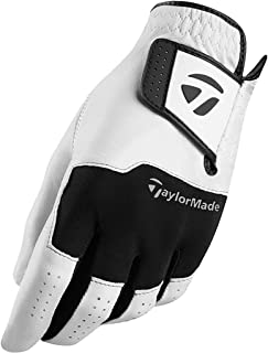 TaylorMade Golf 2018 Stratus Leather Mens Breathable Golf Glove Pack Of 1 Left Hand White/Black Medium