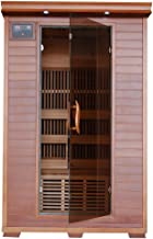 Yukon 2 Person Cedar Infrared Heatwave Sauna with 6 Carbon Heaters E-Z Touch Control Panel Oxygen Ionizer CHROMOTHERAPY System Recessed Interior Lighting and Built-In Sound System
