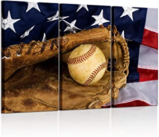 Kreative Arts - Large 3 Pieces Canvas Prints Wall Art Baseball and American Flag Poster Sports Picture Printed On Canvas Stretched and Framed Artwork Gift for Home Living Room Decor 16x32inchx3pcs