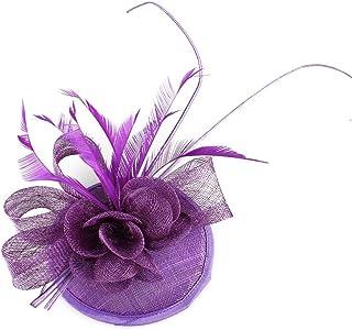 Fascinator Hats Hair Clip, Women Feather Flower Mesh Cocktail Wedding Headband Headwear