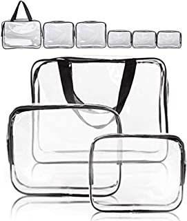 Clear Makeup Bags, APREUTY TSA Approved 6Pcs Cosmetic Makeup Bags Set Waterproof Clear PVC w/ Zipper Handle Portable Trave...