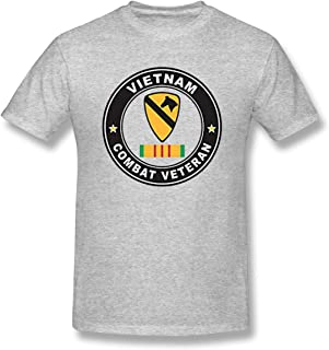 MDClothI Men's US Army 1st Cavalry Division Vietnam Combat Veteran Classic Print T-Shirt Short Sleeve