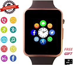 Smart Watch Phone Smartwatch with Camera Pedometer Call Text SNS Sync SIM Card Slot TF Card Music Player Alarm Compatible with Android and IPhone (Partial Functions) for Men Women Kids Teens (Gold)