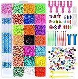 ONECK Caja Pulseras Gomas Bandas de Silicona Para Hacer Pulseras De Colores Loom Kit para Pulseras(6800 Loom Bandas)