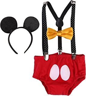 Baby Boys 1st Birthday Cake Smash Outfit Adjustable Y Back Clip Suspenders Bowtie set Bloomers with Mouse Ears Headband