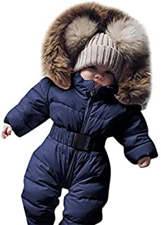Baby Winter Coat Newborn Infant Boys Girls Warm Thick Romper Clothes 0-24 Months,Toddler Hooded Jumpsuit Overcoat