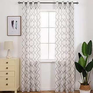 NAPEARL Faux Linen Semi-Sheer Living Room Window Curtain Panels Geometric Jacquard Design Set of 2 Pieces (52