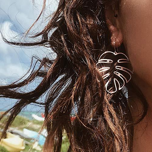 Doubnine Palm Leaf Earrings Large Monstera Gold Line Dangle Earrings Bohemian Summer Festvial Jewelry for Women Girls (silver)