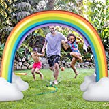 Costzon Inflatable Rainbow Sprinkler, Giant Arch Water Sprinkler with Environmental Friendly PVC Material, Over 6 Feet Long, Outside Yard Summer Toy for Boys Girls