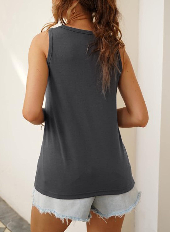 Dokotoo Womens Crew Neck Tank Tops Summer Leopard Detail Print Top Casual Cami Shirts Blouses S-XXL