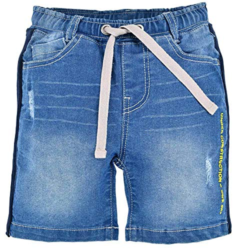 BONDI Pantalones vaqueros con tractor para chicos 33128, color azul, cortos, tractor, bordados, guardería, escuela, tiempo libre Azul Denim. 116 cm