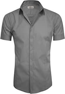 TAM WARE Mens Hidden Button Short Sleeve Dress Shirts