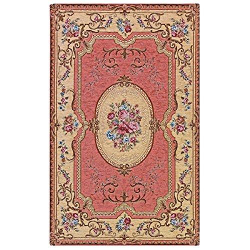 Webappe.it Klassischer Teppich Aubusson Rosa waschbar in der Waschmaschine Cm. 65x220 Rosa