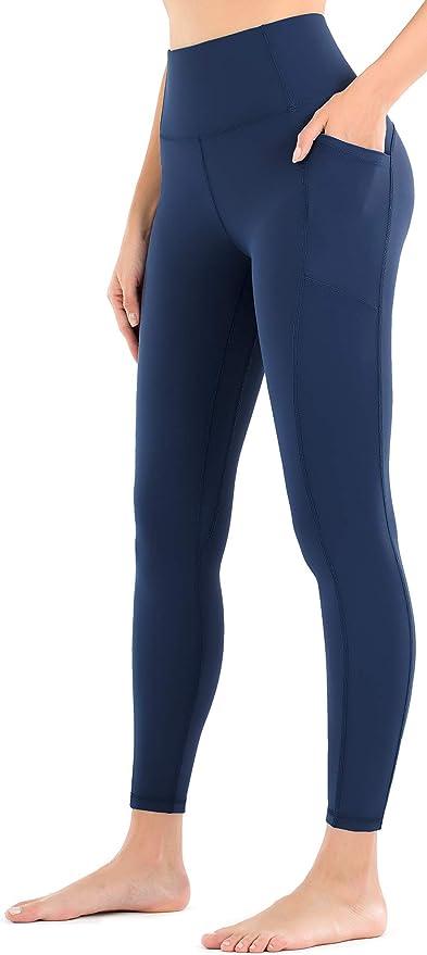 Leovqn Mesh Damen Leggings Hohe Taille Undurchsichtige Yogahosen mit Taschen f/ür Sportlauftraining Freizeitkleidung