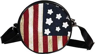 Coosun Umhängetasche mit Totenköpfen, amerikanische Flagge, rund, Schultertasche für Kinder und Damen