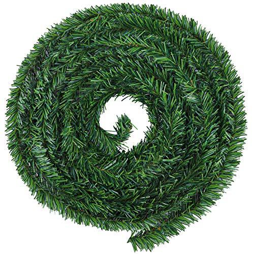 Aneco 6,50 Yard Weihnachtsgirlande Dekorationen Künstliche Grüne Kiefer Girlanden Urlaub Weihnachten Grün Kränze, Dekoration für Weihnachten Haus Garten Hochzeit Party