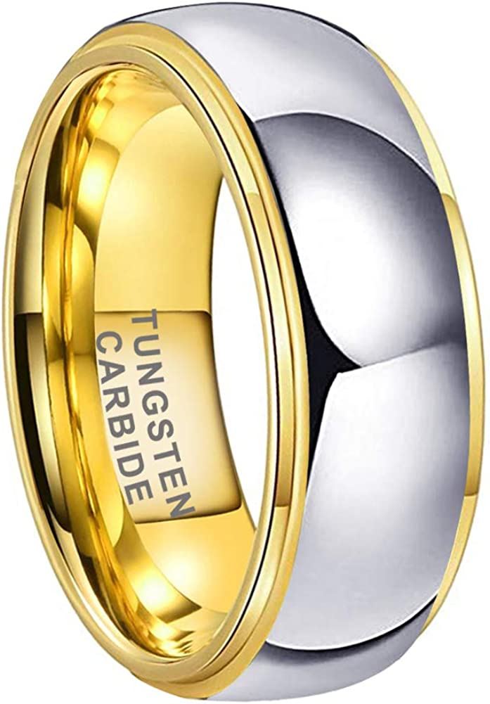 iTungsten 4mm 6mm 8mm Gold/Rose Gold Tungsten Rings for Men Women Wedding Bands Domed Stepped Edges Brushed Polished I Love You Comfort Fit