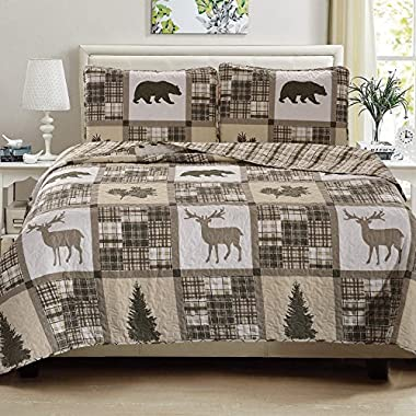 Great Bay Home 3-Piece Quilt Set with Shams. Durable All-Season Polyester Bedspread and Shams with Rustic Printed Pattern. Stonehurst Collection By Brand. (Full/Queen)