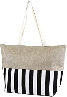 Large Zipper Top Stripe Print Canvas Beach Bag Tote - 22