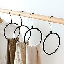 SCTD Belt/Scarf Hangers for Closet - 4 PCS Nonslip Space Saving Steel Tie Rings Holder Organizer for Neckties, Shawls Scarves, Pashminas (Black)