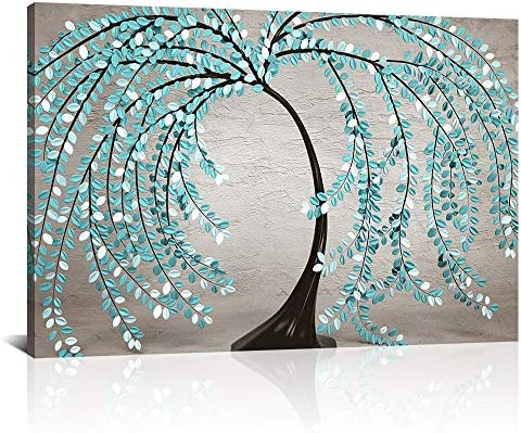 DekHome Abstract Tree Canvas Wall Art Modern Teal Green Leaves Floral Artwork Contemporary Prints product image