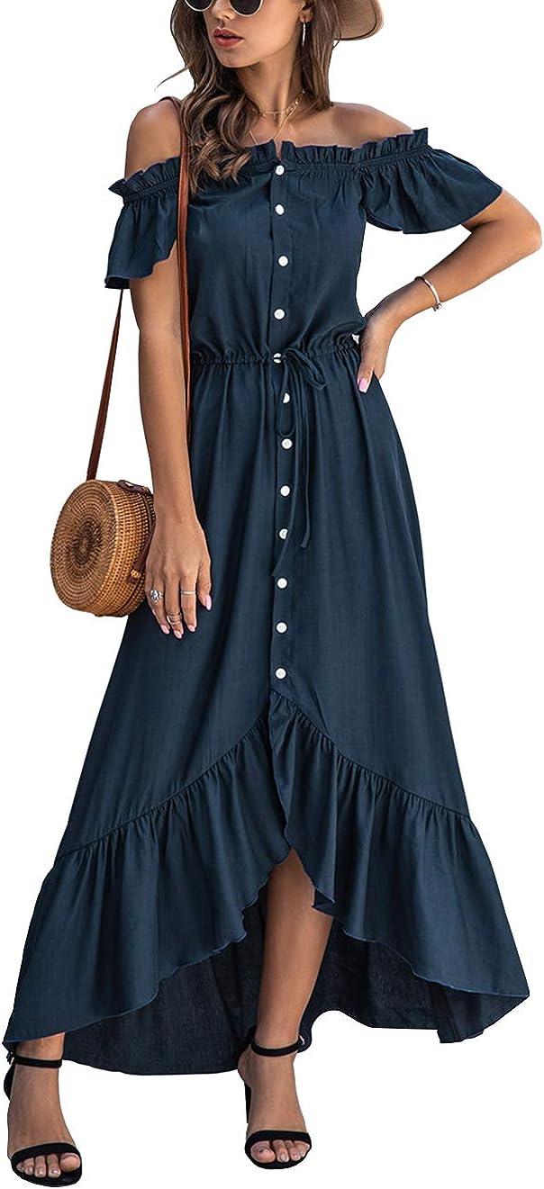 KIRUNDO 2021 Summer Women's Off Shoulder Maxi Dress Polka Dots Short Sleeves High Waist Pleated Long Dresses with Belt