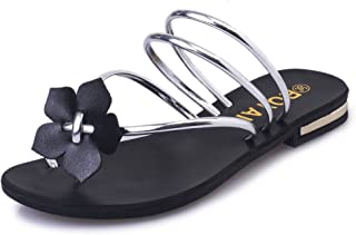 lcky Summer Cute Shoes Non-Slip Flat Beach Shoes Women's Flowers Slippers