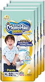 MamyPoko Extra Dry Pants, XL, 32 Count, (Pack of 4)