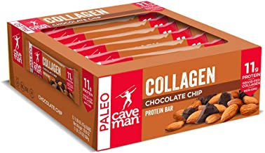 Caveman Foods Collagen Chocolate Chip Protein Bar, 12 Count