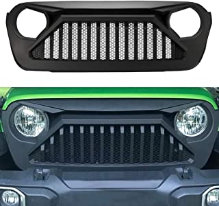 SUNPIE Jeep Wrangler JL Grill Mesh Grille Replacement 2018 2019 JL and 2020 JT Gladiator Truck (Paintable, Matte Black, ABS)