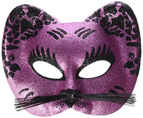 P'TIT CLOWN 60015 Loup Tissu Paillettes Chat avec Moustache - Rose/Noir