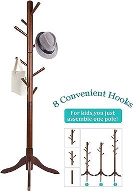Vlush Free Standing Coat Rack, 8 Hooks Wooden Coat Hat Tree Coat Hanger Holder Enterway Hall Tree with Solid Rubber Wood Base